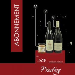 """Abonnement vin """"Prestige"""" - Coffret Vin Mensuel 2 bouteilles / 1 pot"""