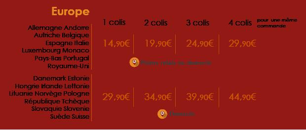 Tarifs Europe livraison par Colissimo ou Transports Blanc